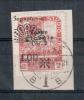 FIUME 1921 SEGNATASSE  1 L. SU 2 C.. SOP, FORTEMENTE SPOSTATA IN SENSO ORIZZONTALE USATA SU FRAMMENTO - Fiume