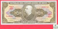 Brazil 5 Cruseiros 1964 Uncirculated  # 176d Banknote / Brésil -  Billet - Papier Monnaie / Brasil - Brésil