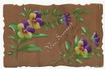 Carte Peinte Main  Sur Bois Pensées 1907 Hand Painted On Wood - Cartes Postales