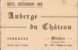 """23Ch""""    78 MEDAN CARTE PUBLICITAIRE  HOTEL BAR AUBERGE DU CHATEAU (VILLENNES SUR SEINE) - Medan"""