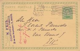 Belgique  Anvers Feis Courtier En Tabac Entier Postal Albert Ier - Tabak