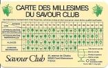 Carte Des Millésimes Du Savour Club, 1953-1984 - Alcools
