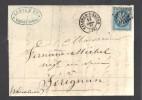 FRANCE 1867 N° 29 Obl. S/Lettre Entiére GC 4077 C à D Valence S/Rhone - 1862 Napoleon III