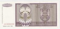 Bosnia And Herzegovina 100.000 Dinara 1993. UNC P-141s SPECIMEN ZERO NUMBERED - Bosnia And Herzegovina
