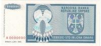 Bosnia And Herzegovina 100.000.000 Dinara 1993. UNC P-146s SPECIMEN ZERO NUMBERED - Bosnia And Herzegovina