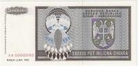 Bosnia And Herzegovina 5.000.000 Dinara 1993. UNC P-143s SPECIMEN ZERO NUMBERED - Bosnia And Herzegovina