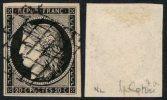 N°3a, 20c NOIR SUR BLANC Oblitéré Grille Noire - TB - Signé - 1849-1850 Ceres