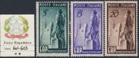ITALIA - Sassone N. 601-603 - Cat. 120 Euro - CERTIFICATO  -  GOMMA INTEGRA - MNH** - POSTFRISCH - 6. 1946-.. Republik