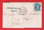 LETTRE DE PARIS  //  POUR BLAYE  // 12 NOV 893 //  CACHET ETOILE N 17 - 1849-1876: Classic Period