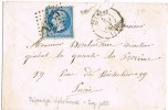 Carta ETAMPES (Francia) 1867, Rombo Numeral 1435 - 1862 Napoléon III.