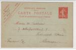 Entier Postal - République Française. - Roty. Mouchon. Voyagée 20/01/1909 - 1900-02 Mouchon