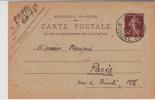 Entier Postal - République Française. - Semeuse 20c Correspondance Intéressante - Roty. Mouchon. Voyagé Oblitéré 1922 - France