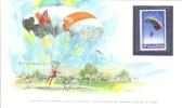 World Of Sports Display Card  -  Mint Bulgaria Stamp  -  PARACHUTING - Fallschirmspringen