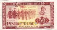 Albanie Billet De Banque Banknote Monnaie Pesedhjete Lek  Militaire Fusil Mitraillette Drapeau Neuf Avec Pli Central - Albanie