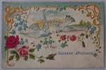 SWALLOWS+ ROSES Embossed Greetings Postcard France 1904 UDB - Fancy Cards
