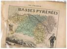 LA FRANCE BASSES PYRENEESL- N°63  CARTE GRAVEE EN COULEURS - Geographische Kaarten