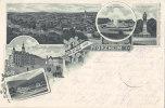 LITHO: Gruss Aus PFORZHEIM, Total Rathaus, Kupferhammer, Kaiser Wilhelm Denkmal, St: Pforzheim 23.7.1898 N. Luckenwalde - Gruss Aus.../ Grüsse Aus...