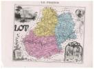 LA FRANCE LOT - N°45  CARTE GRAVEE EN COULEURS - Carte Geographique