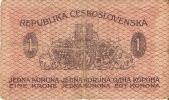 BILLETE DE CHECOSLOVAQUIA DE 1 KORUNA DEL AÑO 1919 (BANKNOTE) - Checoslovaquia