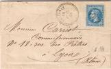 GC 4083 Sur Lettre VALLENAY De 1868 Des Forges De Bigny - Marcophilie (Lettres)
