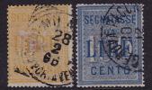 Segnetassa  50 L. Giallo E 100 L. Azzuro  Sass 31-2 Usati - Portomarken