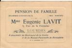 Carton Publicité-pension De Famille-lourdes- Eugenie Lavit-5 Rue De La Fontaine - Hotel Labels