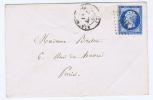 France: Yv  22 , GC 393 Beaumont-sur-Orse (RRR) A Paris Envelop RRR, Cachet Apres Le Depart - Marcophilie (Lettres)