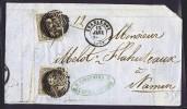 1859  Médaillons Arrondis  Sans Filigrane COB 10A  X 2 Sur Devant De Lettre