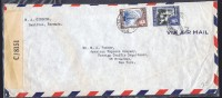 1943  Censored Air Mail Letter To USA  SG 111a, 114a - Bermuda