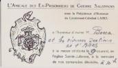 BELGIQUE:NAMUR(SALZINNES) :09/101949.Amicale DesEX-PRISONNIERS De Guerre Salzinnois.Invitation Pour Messe. - Programas