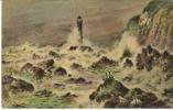 Cartes Oléochromie, Série 602, Peinture, Phare, Tempête, Mouettes - Peintures & Tableaux