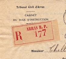 Lettre 1944 Recommandé Arras Pas De Calais Iris 4F Tribunal Civil THELLIER De PONCHEVILLE Avocat - Postmark Collection (Covers)