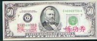 BOC (Bank Of China) Training Banknote,USA 50 Dollar Banknote Specimen Overprint - Stati Uniti
