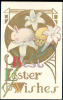 100565-Easter, Unknown Pub No 536, White Rabbit Sitting On Lily Flower, Art Nouveau Style, Embossed - Easter