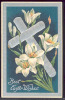 106863-Easter, AMB, Silver Cross Lying On Lily Flowers, Embossed Litho - Pasen