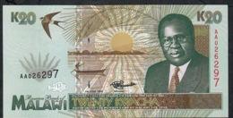 MALAWI   P32  20   KWACHA  1995 Serie #AA026297  UNC. - Malawi