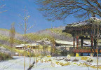 SOUTH KOREA - AK 108479 Korean Folk Village - A Snow-covered Octagonal Pavilion And An Aristocratic House Scene - Corée Du Sud
