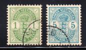 Danish West Indies Used Scott #21-#22 1c And 5c Coat Of Arms - Danemark (Antilles)