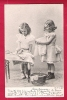 Deux Petites Filles Font La Lessive Et Le Repassage. Thème Fer à Repasser.  Voyagée En 1902. - Children