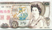 BOC (Bank Of China) Training Banknote, England Banknote Specimen Overprint - Regno Unito