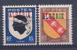 Algeria, Scott # 208-9 Mint Hinged France Stamps, Overprinted, 1947 - Algeria (1924-1962)