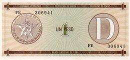 CUBA 1 PESO FOREIGN EXCHANGE CERTIFICATE P FX27 - Cuba