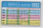 Alt026 Calendario Tascabile, 1992, Pubblicità Camping, Campeggio Marina Di Venezia, Venice Camping, Punta Sabbioni - Calendari