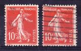 PRIX FIXE - Semeuse N° 138 Type IA (1907) & N° 138 Type IC(1910) - TP Oblitérés - TBE - France