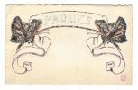 PÂQUES  /  2  PAPILLONS  ( Dessin Réalisé Avec Des Morceaux De Timbres-poste ) /  CPA  PRECURSEUR - Stamps (pictures)