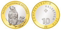 # SUISSE / SWITZERLAND: KM #134 - 10 Francs FAUNA Marmot (2010) BU / FDC Bi-metal - Switzerland