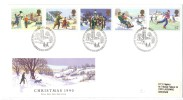 VER1588 - GRAN BRETAGNA 1990 , La Serie N. 1493/1497 Su FDC. Christmas - FDC