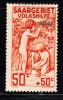 Saar MH Scott #B7 50c + 50c Children At Spring 1927-28 Overprint - 1920-35 Société Des Nations
