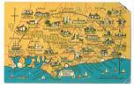 England - Bognor Regis Area - Map On Postcard - 20 Miles Radius - 1966 - Bognor Regis