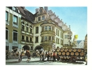 """Cp, Allemagne, Munchen, Hofbräuhaus Am Platzi, Weltberühmte """"Bierschwemme"""" Mit Blumengeschmücktem Brauerei-Festgespann - Muenchen"""